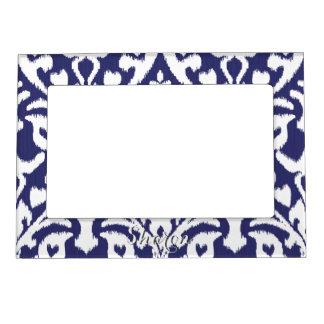 Modelo tribal fresco del ikat azul y blanco foto de imanes