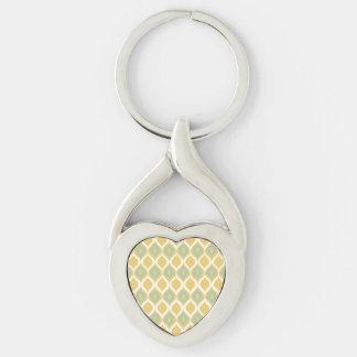 Modelo tribal geométrico de la impresión de Ikat Llavero Plateado En Forma De Corazón