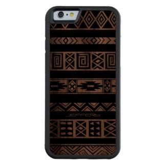 Modelo tribal geométrico negro de Monogramed Funda De iPhone 6 Bumper Nogal