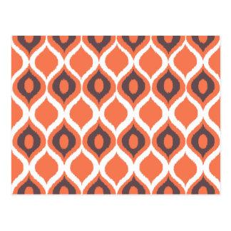 Modelo tribal geométrico retro anaranjado de la postal