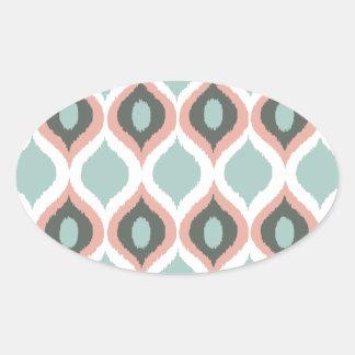 Modelo tribal geométrico rosado de la impresión de calcomanías de óvales personalizadas