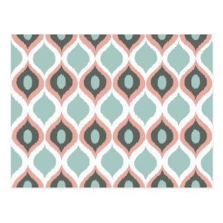 Modelo tribal geométrico rosado de la impresión de postal