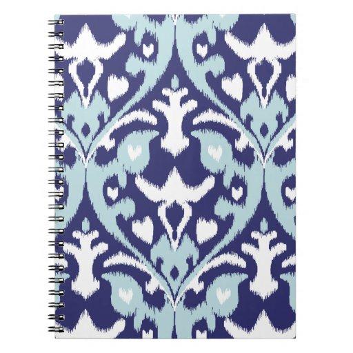 Modelo tribal moderno del ikat femenino azul y bla libros de apuntes
