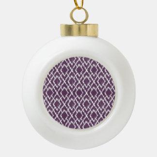 Modelo tribal púrpura del diamante de Ikat Geo de Adorno De Cerámica En Forma De Bola
