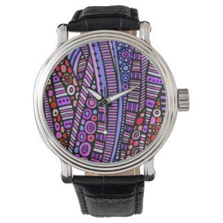 Modelo tribal púrpura enrrollado relojes de mano