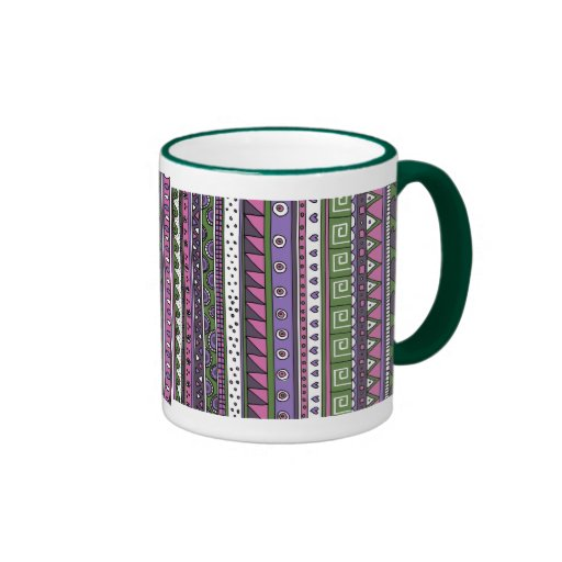 Modelo tribal púrpura y rosado taza a dos colores