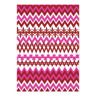 Modelo tribal rosado caliente colorido de Chevron Anuncio