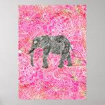 Modelo tribal rosado de la alheña del elefante de  poster