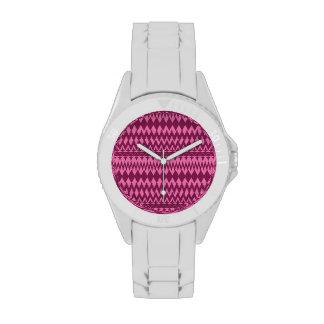 Modelo tribal rosado magenta femenino intrépido de relojes de mano
