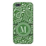 Modelo tribal verde del vintage de Paisley - monog iPhone 5 Protectores