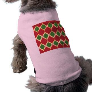 Modelo tribal verde rojo de la impresión de Geo Playera Sin Mangas Para Perro