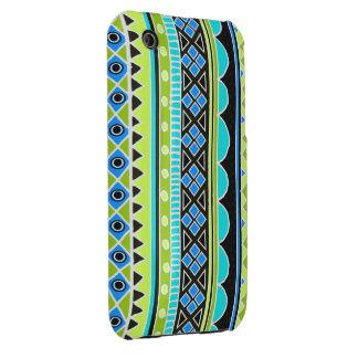 Modelo tribal verde y azul de neón iPhone 3 cárcasa