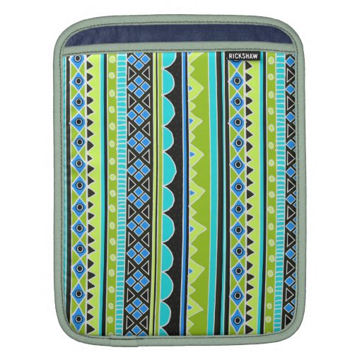 Modelo tribal verde y azul de neón fundas para iPads