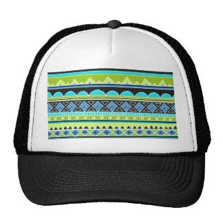 Modelo tribal verde y azul de neón gorras