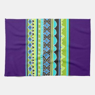 Modelo tribal verde y azul toallas