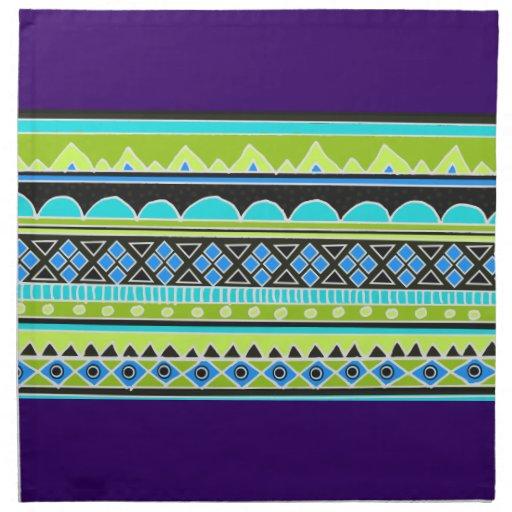 Modelo tribal verde y azul servilleta imprimida