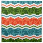 Modelo tropical azul, verde, y anaranjado servilleta de papel