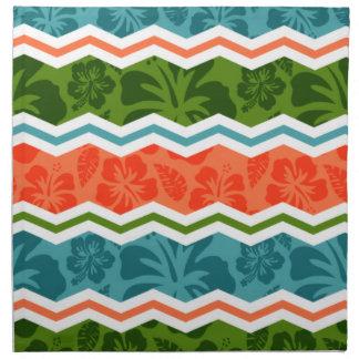 Modelo tropical azul, verde, y anaranjado servilletas imprimidas
