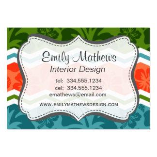 Modelo tropical azul, verde, y anaranjado tarjeta de visita
