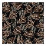 Modelo tropical de la hoja en Brown, gris y negro Comunicados Personalizados