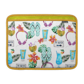 Modelo tropical de la playa de la acuarela moderna funda para MacBook