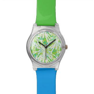 Modelo tropical de las hojas de palma relojes de mano