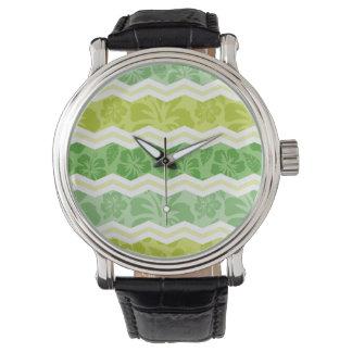 Modelo tropical lindo verde claro y amarillo relojes