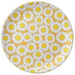 Modelo veraniego sonriente de las margaritas blanc plato de cerámica