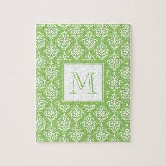Modelo verde 1 del damasco con el monograma rompecabezas con fotos