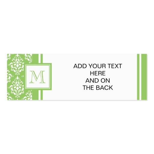 Modelo verde 1 del damasco con el monograma tarjetas de visita mini
