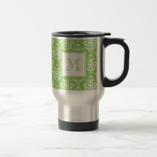 Modelo verde 1 del damasco con el monograma taza de café