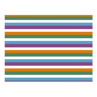 Modelo verde anaranjado púrpura azul de las rayas tarjetas postales