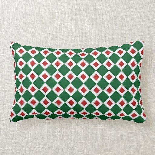 Modelo verde, blanco, rojo del diamante almohada