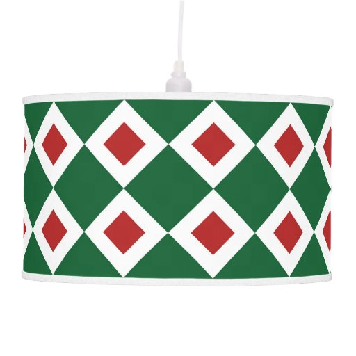 Modelo verde, blanco, rojo del diamante lámpara de techo