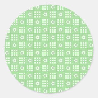 Modelo verde bonito del edredón de remiendo de la pegatina redonda