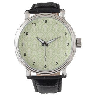 Modelo verde claro del damasco del vintage reloj