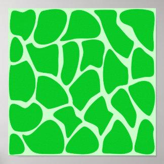 Modelo verde claro del estampado de girafa posters