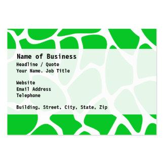 Modelo verde claro del estampado de girafa tarjetas de visita grandes