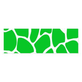 Modelo verde claro del estampado de girafa tarjetas de visita mini