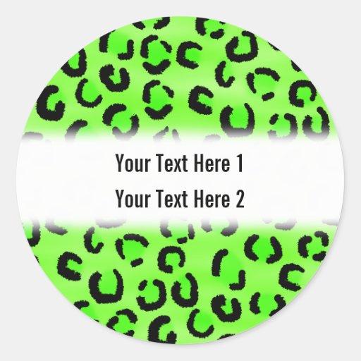 Modelo verde claro del estampado leopardo pegatina redonda