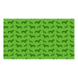 Modelo verde claro lindo del dachshund plantillas de tarjeta de negocio