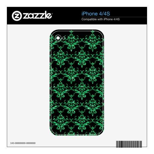 Modelo verde claro negro del damasco del brillo calcomanías para iPhone 4S
