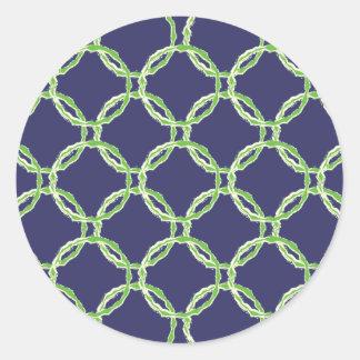 Modelo verde con los círculos y glasing blanco pegatina redonda