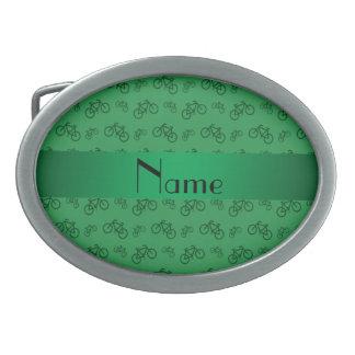Modelo verde conocido personalizado de la biciclet hebillas cinturón ovales