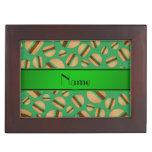 Modelo verde conocido personalizado de la hamburgu cajas de recuerdos