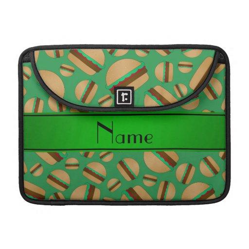 Modelo verde conocido personalizado de la hamburgu fundas para macbooks