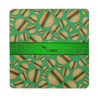 Modelo verde conocido personalizado de la posavasos de puzzle
