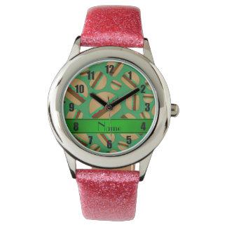 Modelo verde conocido personalizado de la reloj de mano
