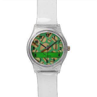 Modelo verde conocido personalizado de la relojes de mano