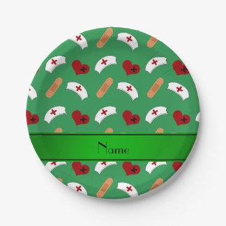 Modelo verde conocido personalizado de la plato de papel 17,78 cm